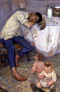 Pushkarova, Viola. Two Ivans and Oksana. 1964. Oil on canvas. 165.5x 119 cm.