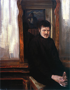 Kavsan, Dmitro. Portrait of Jurii Maniichuk.; 1996. Oil on canvas. 91 x 70 cm.